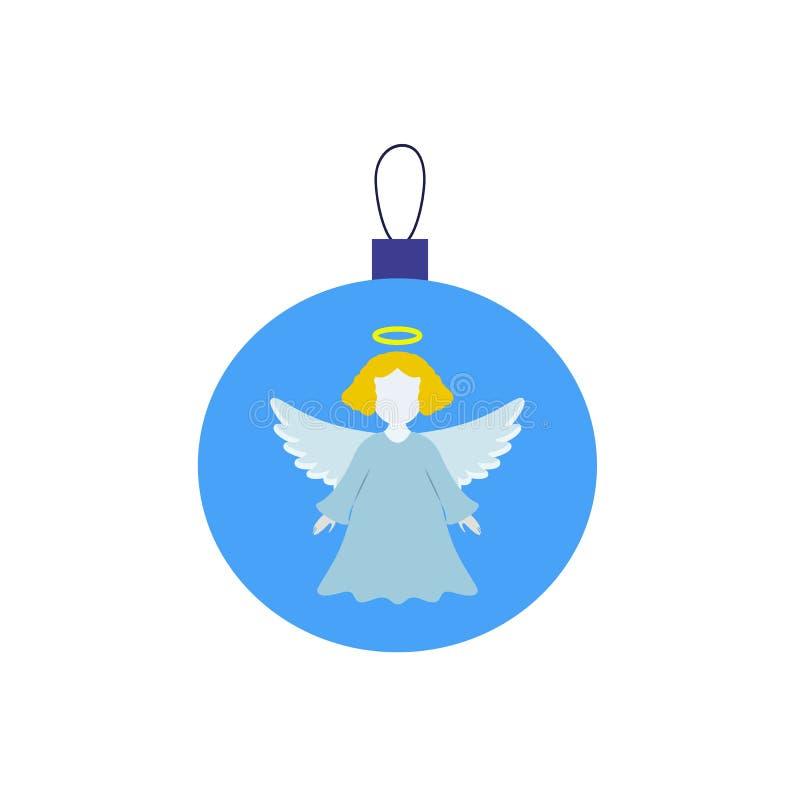 En julboll med ängel av symbolen stock illustrationer