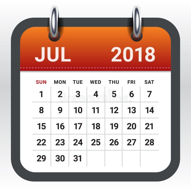 En julio de 2018 ejemplo del vector del calendario stock de ilustración