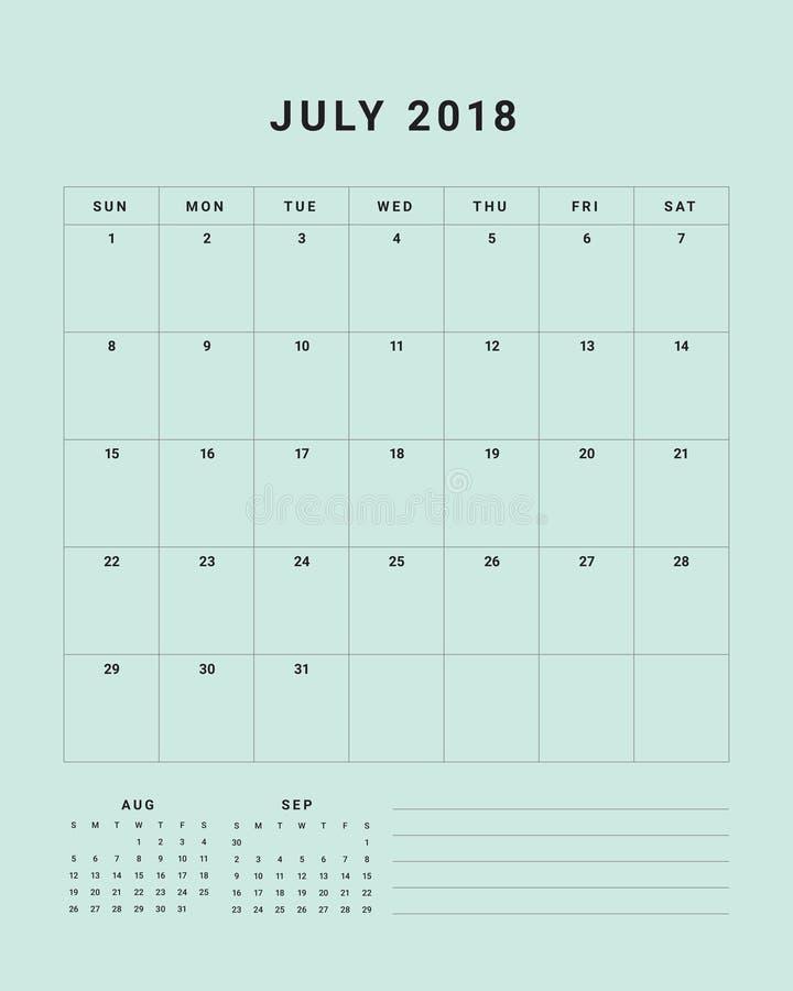 En julio de 2018 ejemplo del vector del calendario de escritorio ilustración del vector