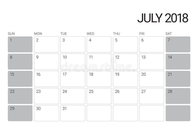 En julio de 2018 ejemplo del vector del calendario de escritorio libre illustration