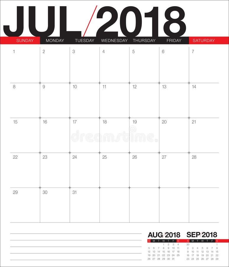 En julio de 2018 ejemplo del vector del planificador del calendario ilustración del vector