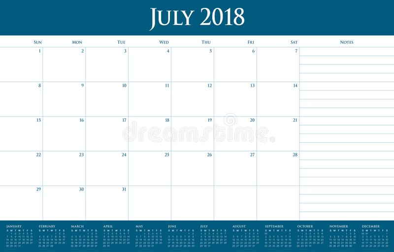 En julio de 2018 ejemplo del vector del planificador del calendario libre illustration