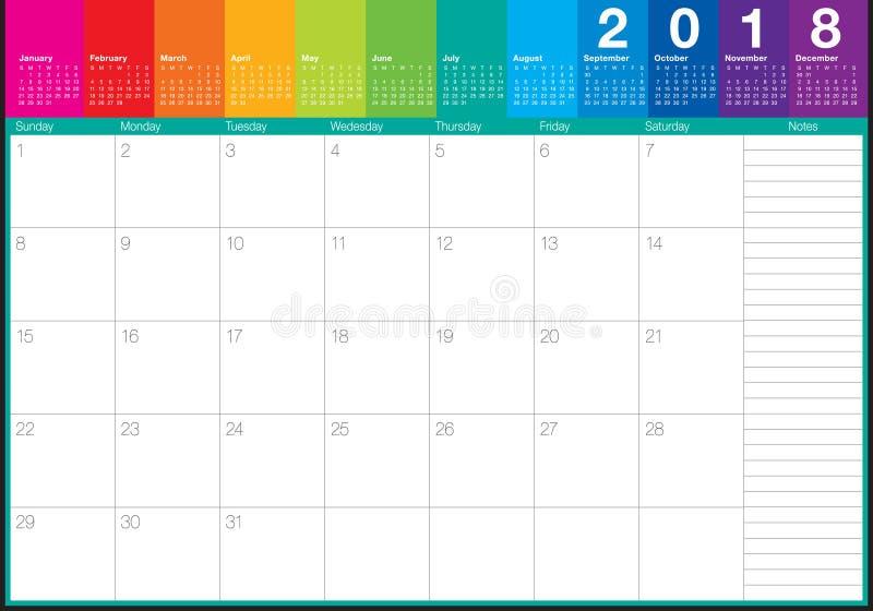 En julio de 2018 ejemplo del vector del planificador del calendario stock de ilustración