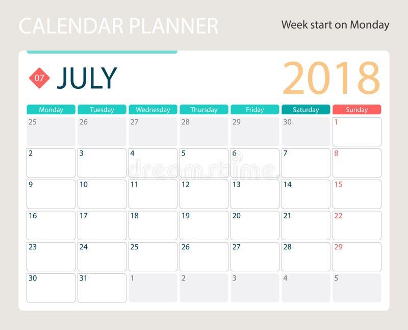 en julio de 2018, el calendario o el planificador del escritorio, semanas del vector del ejemplo comienza el lunes stock de ilustración