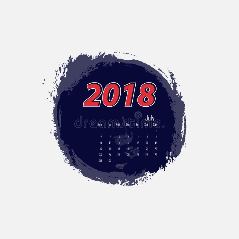 En julio de 2018 plantilla del calendario Sale de lunes Vector ilustración del vector