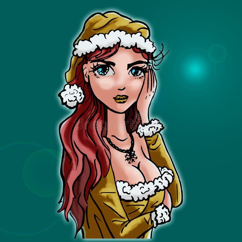 Download En Julkvinna - Grön Bakgrund Stock Illustrationer - Illustration av kort, enkelt: 78725411