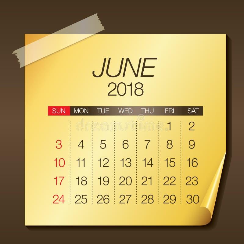 En junio de 2018 ejemplo del vector del calendario ilustración del vector