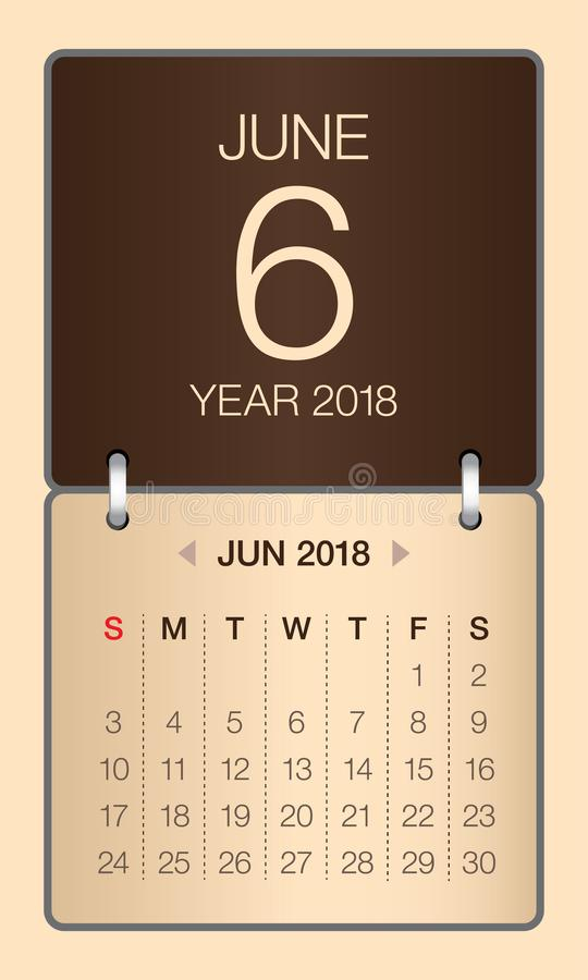 En junio de 2018 ejemplo del vector del calendario libre illustration