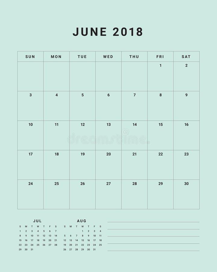 En junio de 2018 ejemplo del vector del calendario de escritorio libre illustration