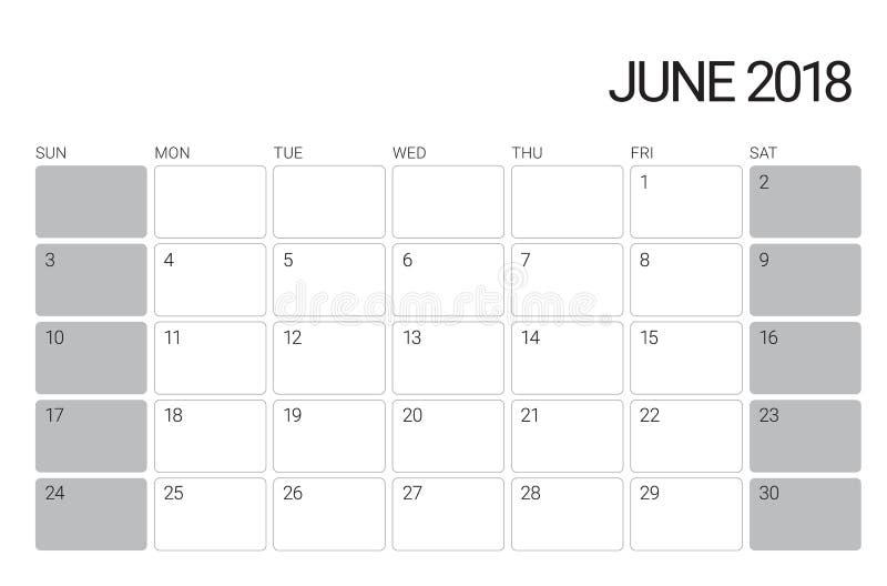 En junio de 2018 ejemplo del vector del calendario de escritorio stock de ilustración