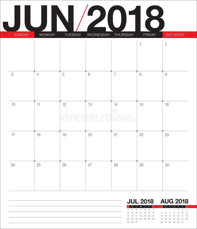 En junio de 2018 ejemplo del vector del planificador del calendario libre illustration