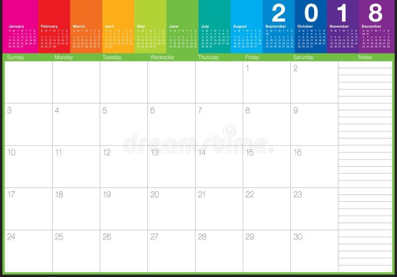 En junio de 2018 ejemplo del vector del planificador del calendario ilustración del vector