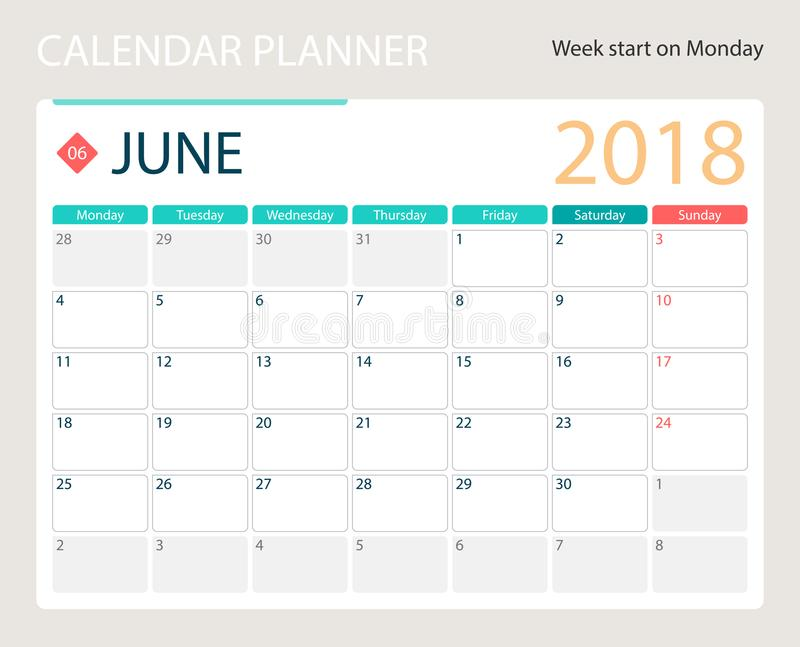 en junio de 2018, el calendario o el planificador del escritorio, semanas del vector del ejemplo comienza el lunes ilustración del vector