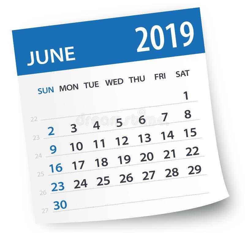 En junio de 2019 hoja del calendario - ejemplo del vector ilustración del vector