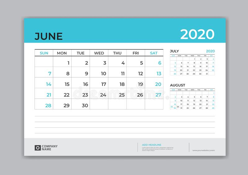 EN JUNIO DE 2020 plantilla, calendario de escritorio por 2020 años, comienzo de la semana el domingo, diseño del planificador, ef libre illustration