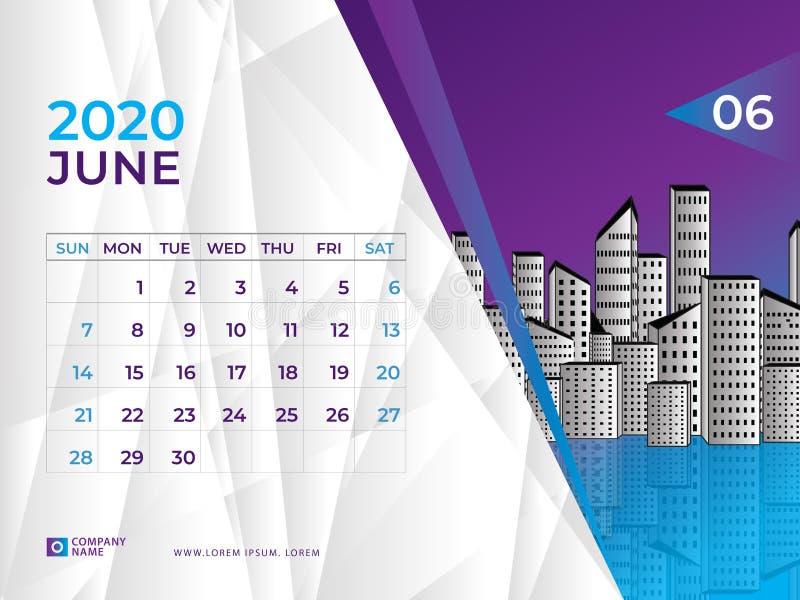 EN JUNIO DE 2020 plantilla del calendario, talla 8 x de la disposición de calendario de escritorio 6 pulgadas, diseño del planifi stock de ilustración