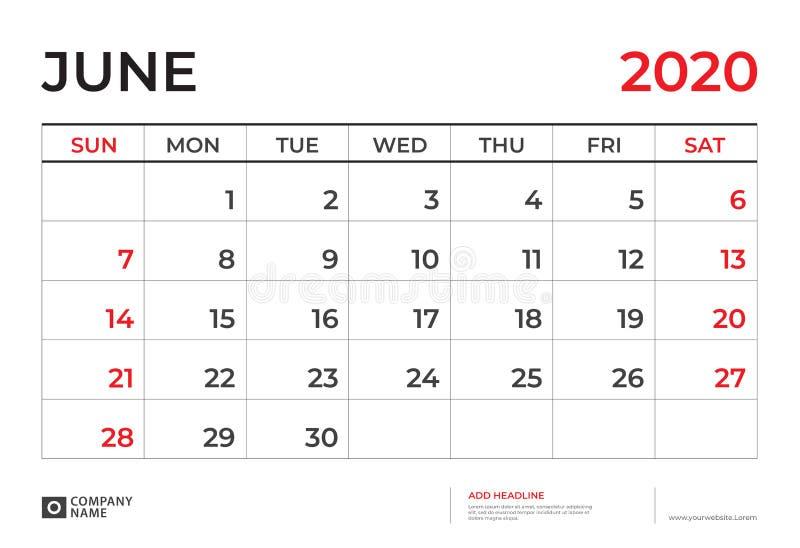 En junio de 2020 plantilla del calendario, talla 9 de la disposici?n de calendario de escritorio r r libre illustration