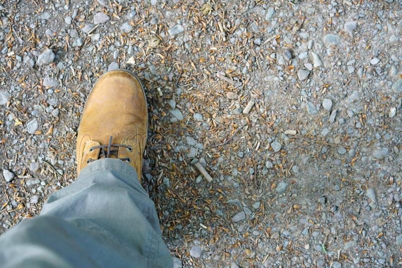 En känga och ett ben på en vandringsled royaltyfri bild