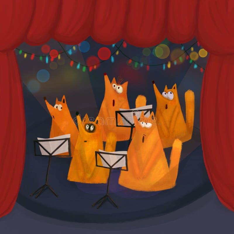 En kör av att sjunga rävar royaltyfria bilder