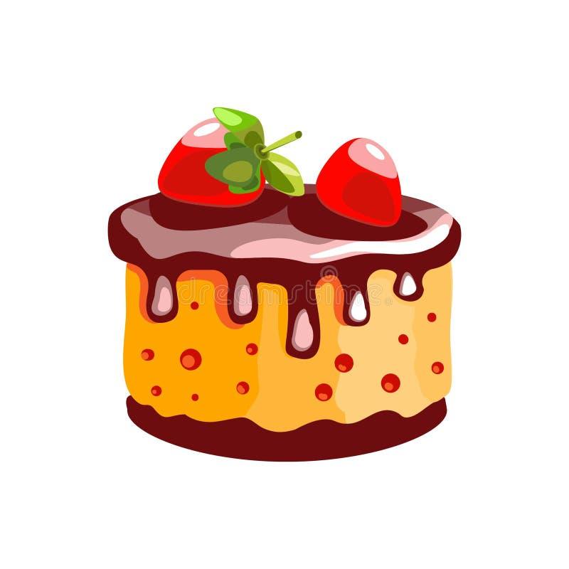 En kaka med citronkräm och jordgubbar Efterrätt Isolerat anmärka Symbol av mat på en vit bakgrund stock illustrationer