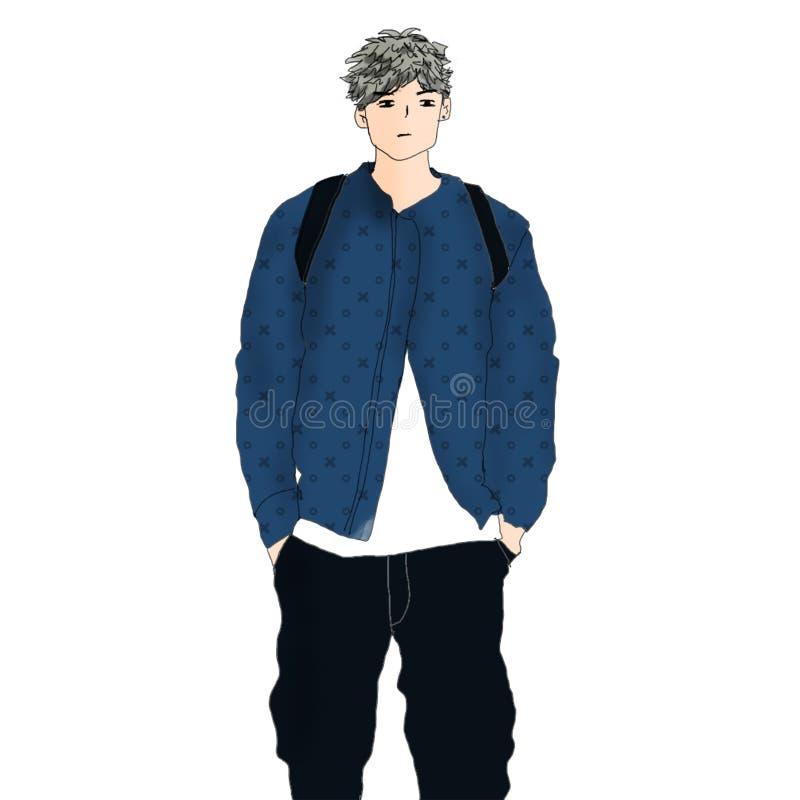 En kall seende ung pojke med vitt hår vektor illustrationer