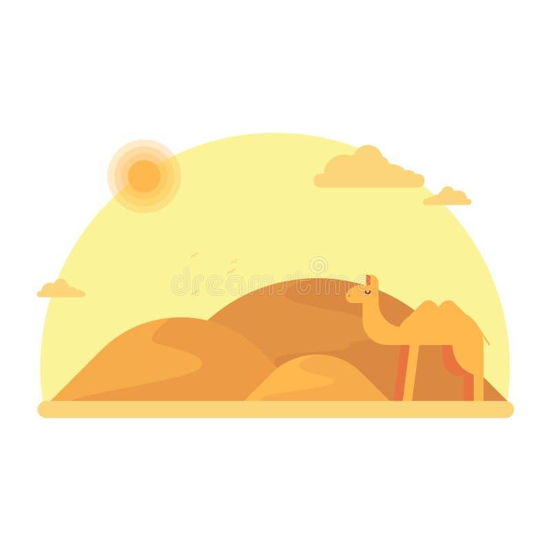 En kamel står i bakgrunden av dyerna Runt om kamel den varma sandiga öknen stock illustrationer