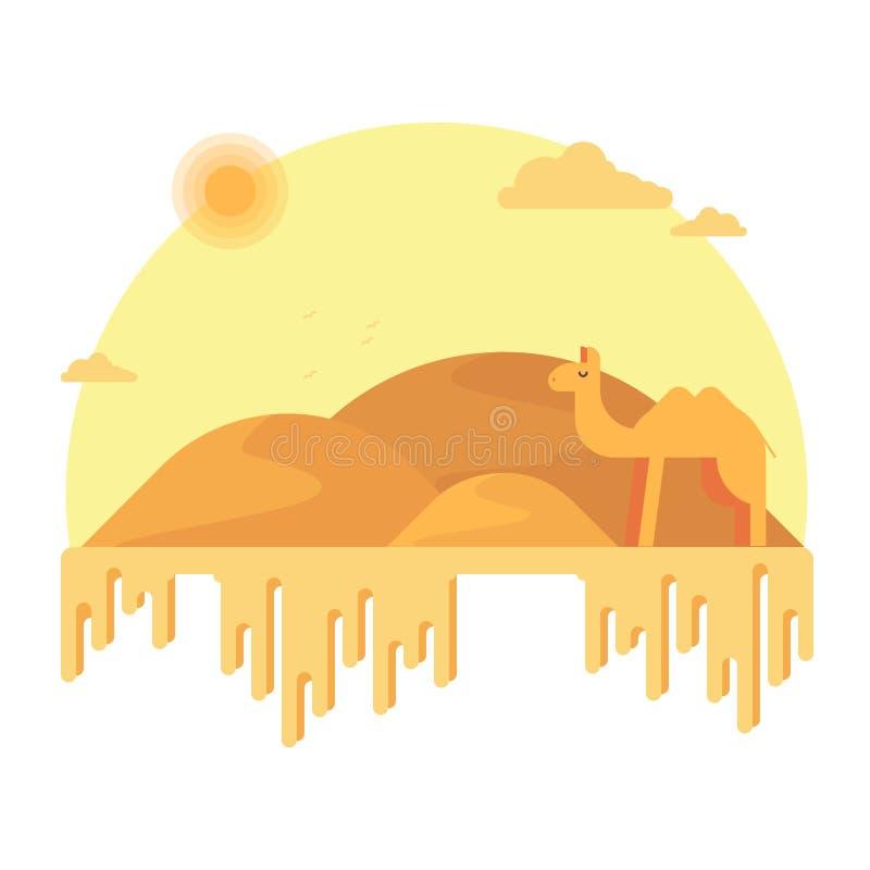 En kamel står i bakgrunden av dyerna Runt om den varma sandiga öknen vektor illustrationer
