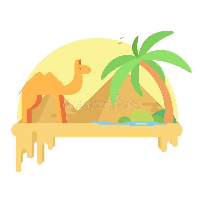 En kamel står nära en oas i bakgrunden av pyramiderna av en giza royaltyfri illustrationer