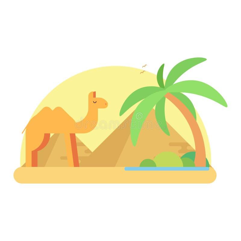 En kamel står nära en oas på bakgrunden av pyramiderna av en giza vektor illustrationer