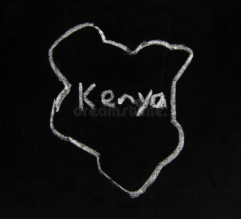 En karta över Kenya i Östafrika arkivfoton