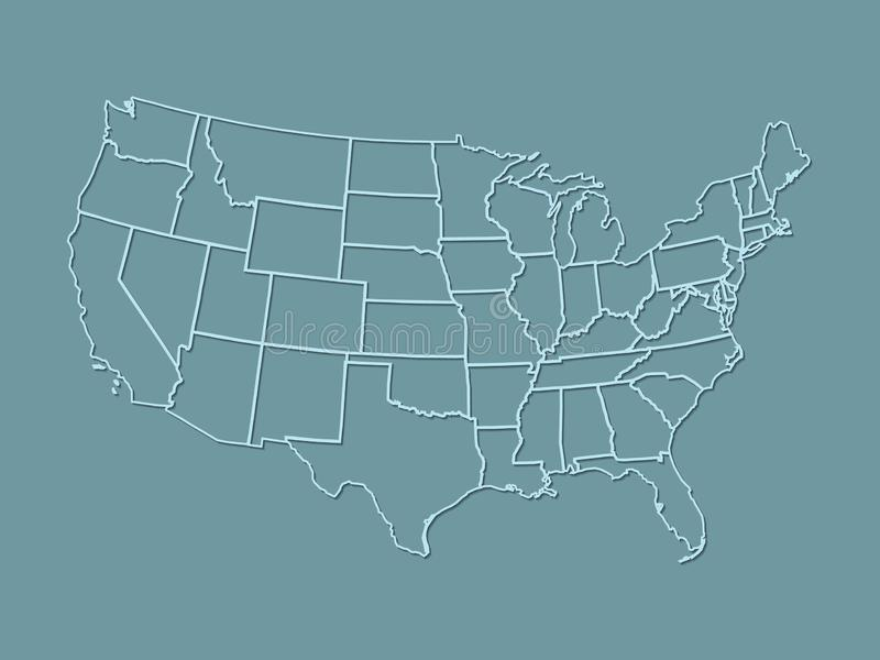 En kartbok av USA med ljus - blålinjen med skuggning på mörker - blå bakgrund vektor illustrationer