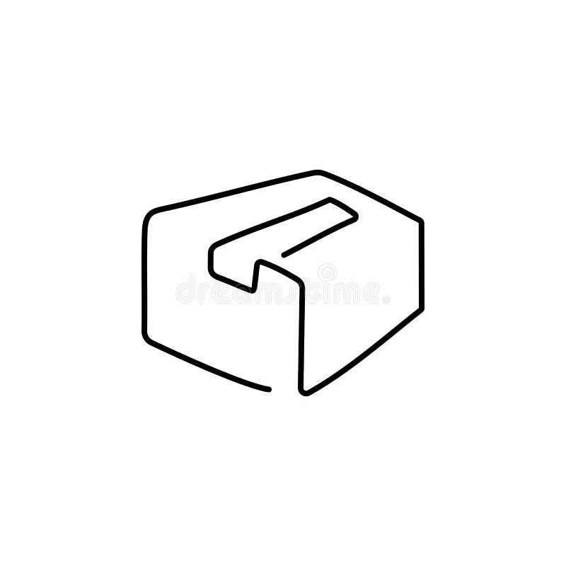 En kartong dras av en svart linje på en vit bakgrund Fortl?pande linje teckning ocks? vektor f?r coreldrawillustration royaltyfri illustrationer
