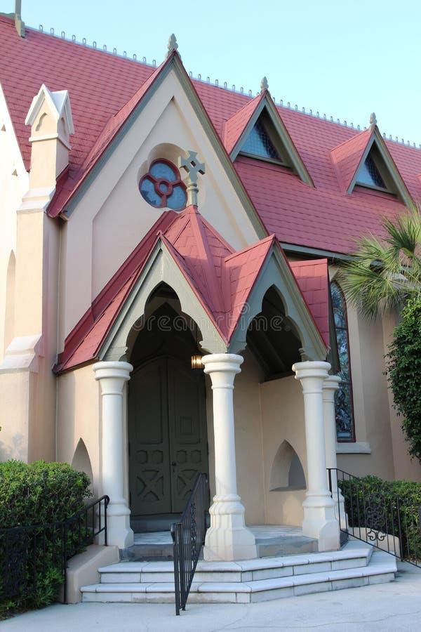 En katolsk kyrkaingång, Florida, USA arkivbilder