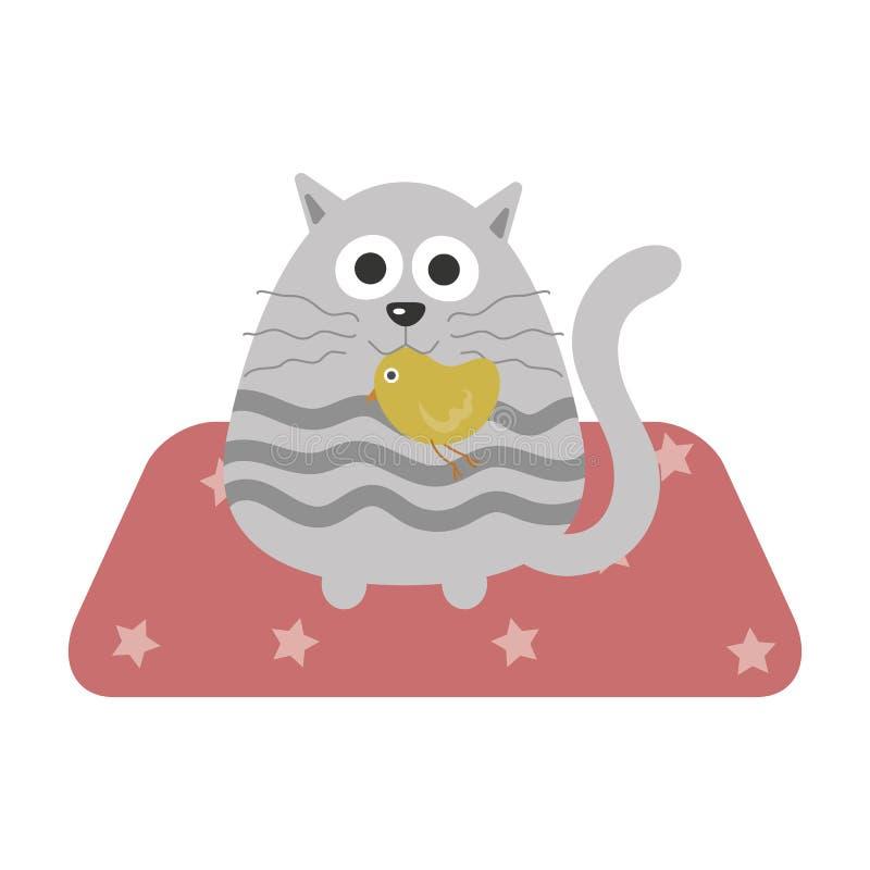 En katt med en fågelunge i mun stock illustrationer