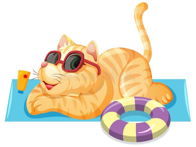 En katt på sommartema royaltyfri illustrationer