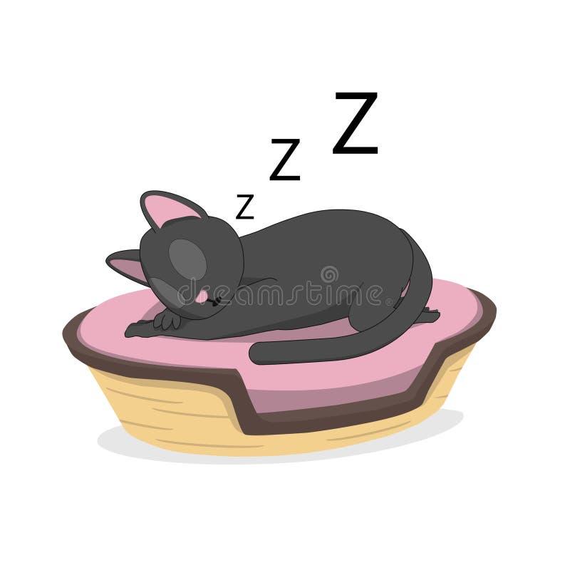 En katt sover i en korg stock illustrationer