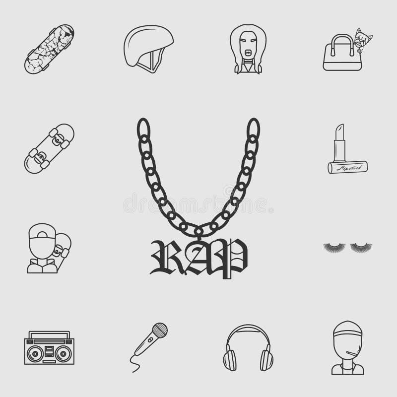 En kedja med ett symbol av rap Detaljerad uppsättning av symboler för livstil Högvärdig kvalitets- grafisk design En av samlingss stock illustrationer
