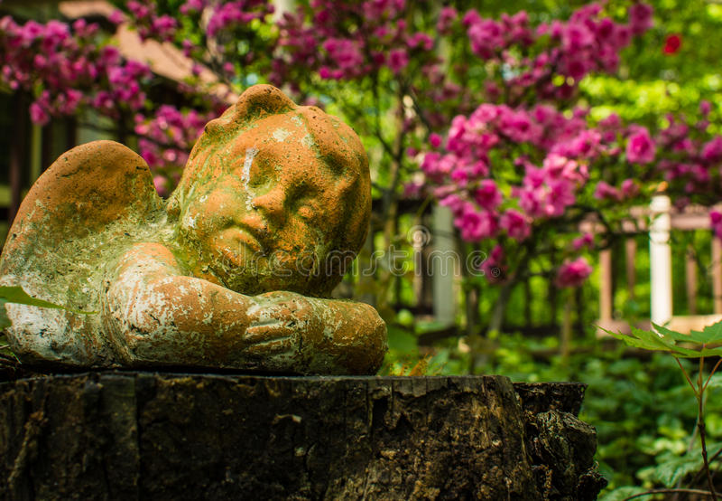 En kerubprydnad vilar fridfullt bland trädgårds- blommor royaltyfri fotografi