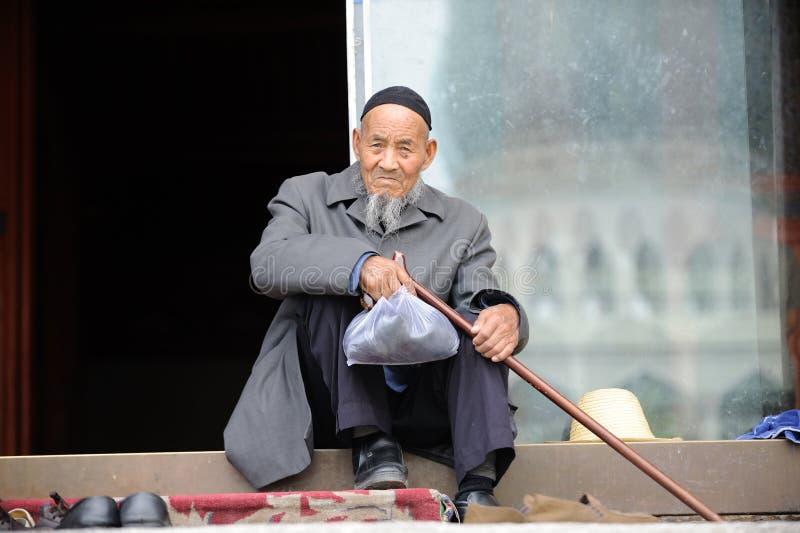En kinesisk Hui gamal man royaltyfri fotografi