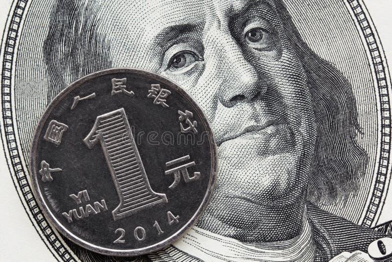 En kinesisk myntyuan och hundra dollarräkning royaltyfria foton