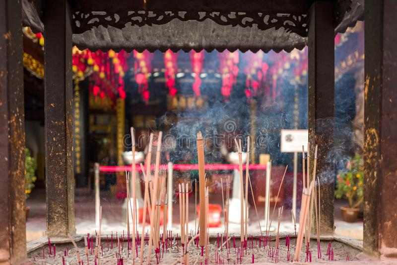 En kinesisk tempel i Singapore royaltyfri foto