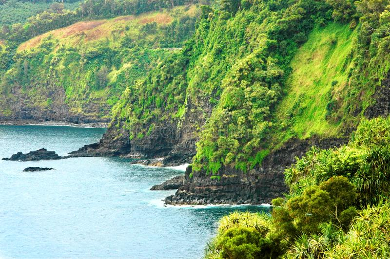 En klippa faller in i Stilla havet royaltyfri foto