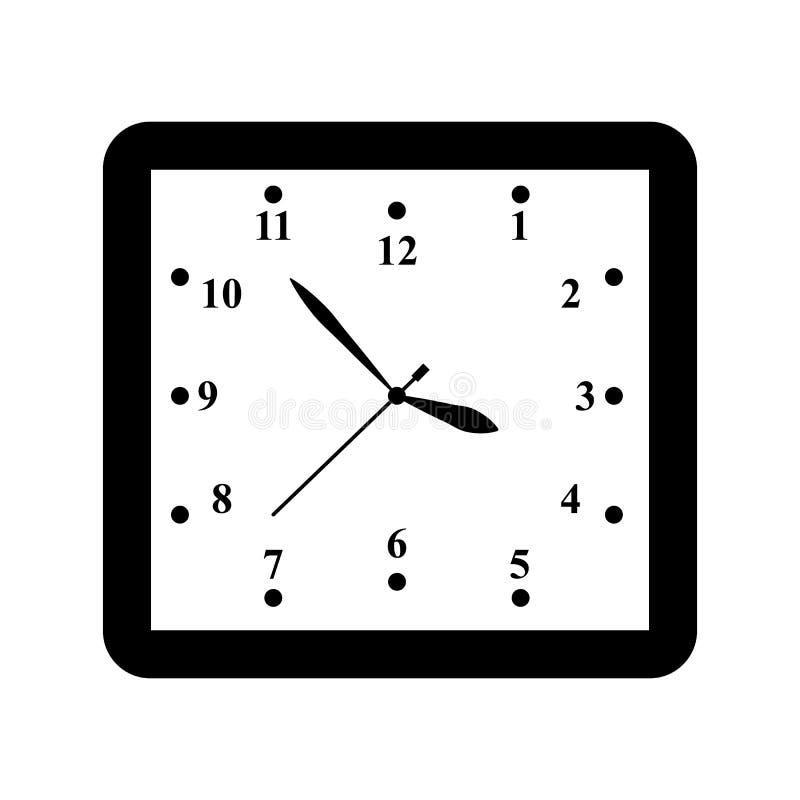 En klockasymbol i översiktstidminut stock illustrationer