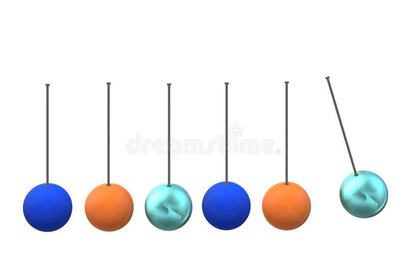 En klockpendelgunga med färgrika metallbollar vektor illustrationer