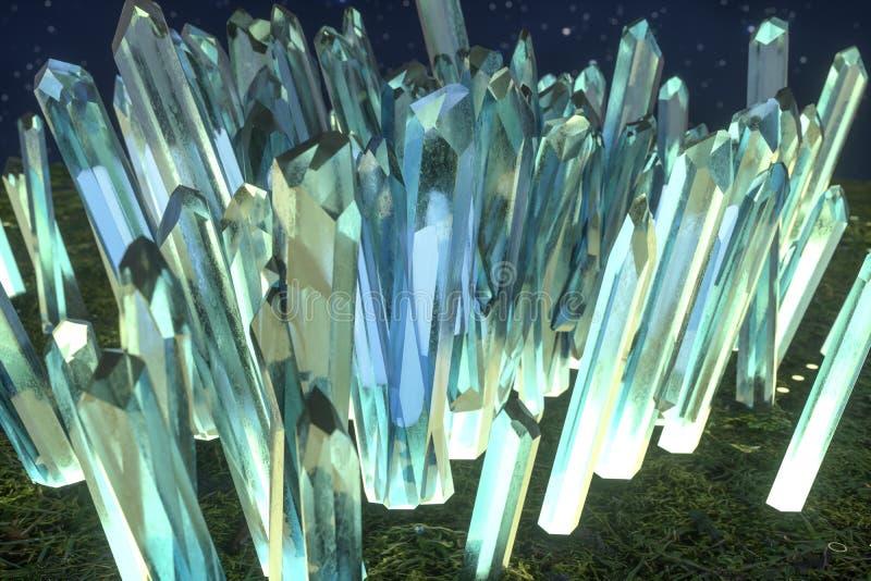 En klunga av precision-snitt den magiska kristallen, science och det magiska temat, tolkning 3d fotografering för bildbyråer