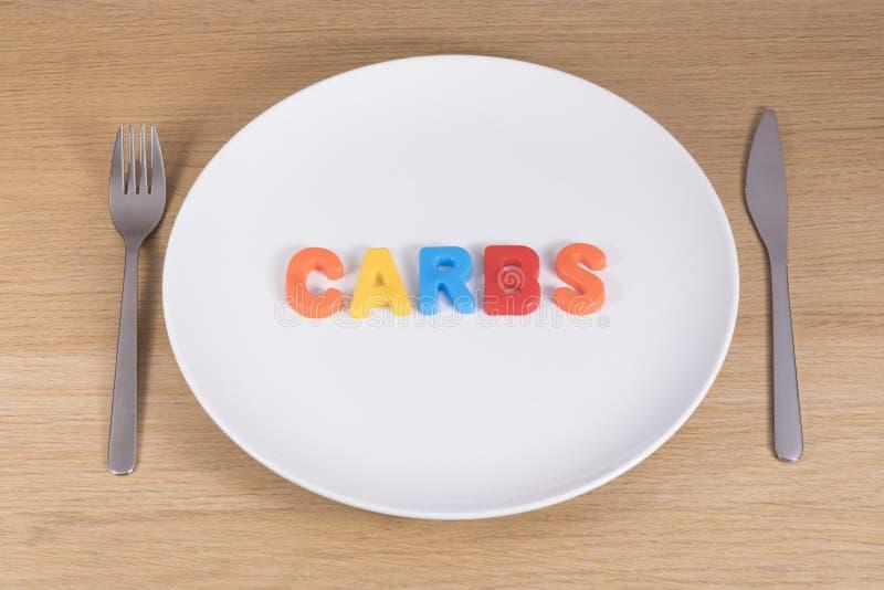 En kniv, gaffel och tömmer plattan med ordcarbsna royaltyfri fotografi