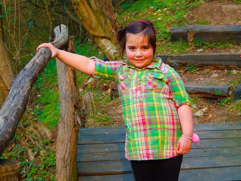 En knubbig liten flicka på en träbro royaltyfria bilder
