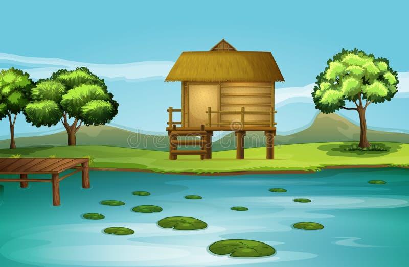En koja på flodstranden vektor illustrationer