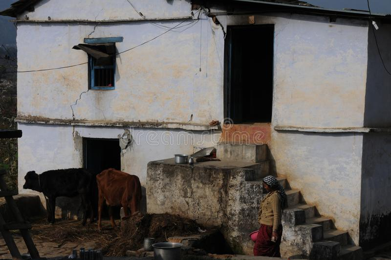 En koja på Kausani, Indien arkivfoton
