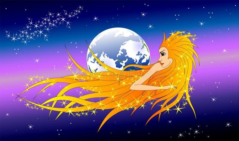 En komet i form av en kvinna flyger nära jorden royaltyfri illustrationer